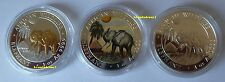 Somalia 3x 100 shillings elefante-set 2017 gildet/color/plata - 3 onzas Top