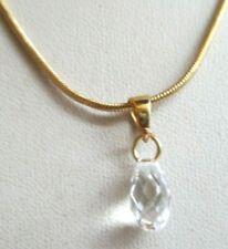Chaîne réglable beau pendentif collier plaqué or goutte cristal bijou rétro 227