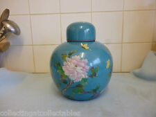 Large  20th century Chinese Torquoise Flora And Butterfly's Ginger Jar