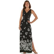 NWT Womans XS Chaps RALPH LAUREN Black Floral Maxi Dress PRETTY ~ L@@K!