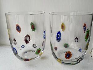 Set Of 2 LEONARDO GLASS MILLEFIORI Double Old Fashioned TUMBLER 16oz Clear