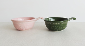 Two Soup Bowl Taylor Smith Taylor Oven Ware Casserole Dishes Pink Green