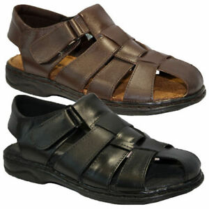 Mens Leather Walking Touch Strap Summer Beach Mules Gladiator Sandals Shoes Size