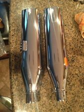 "cycle shack 4"" oval slip on performance mufflers harley exhaust flst fat boy new"