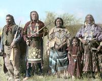"BANNOCK NATIVE AMERICAN INDIANS OREGON IDAHO 8x10"" HAND COLOR TINTED PHOTOGRAPH"