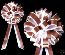 """BROWN WHITE WEDDING 8"""" PULL PEW BOW BRIDAL DECORATION"""