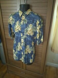 Pierre Cardin men's size s blue beige brown green button-up one pocket shirt
