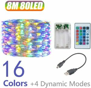 String Light 8m 80 LED 16 Colour Outdoor USB Battery Powered Fairy Copper Remote