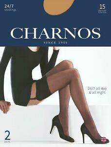 Charnos 24/7 Stockings 15 Denier Sheer Leg  Reinforced Toes 2 Pair Pack