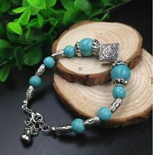NEW Ethnic style Tibet silver turquoise beads adjusted Charm girls bracelet SL09