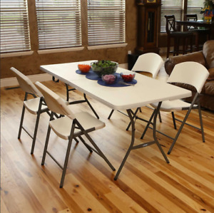 Heavy Duty Table Folding Camping Party 1.8m Foldable Garden Furniture White Xmas