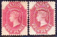 1867-70 CEYLON SG 65,65b 4d MH wmk Crown CC CV £385