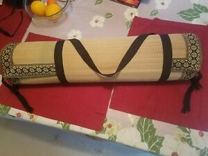 Natural Fiber Beautiful Yoga & Exercise Mat with Carrying Strap.