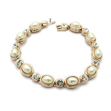 18K ROSE GOLD PLATED & GENUINE CLEAR CUBIC ZIRCONIA  AND PEARL TENNIS BRACELET