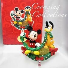 Disney Mickey Mouse and Pluto Stocking Hanger Holder Christmas Garland With BOX