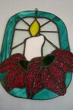 """CHRISTMAS CANDLE & POINSETTIA SUN CATCHER-About 7 x 10 1/2""""-Loop for Hanging"""