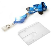 Enclosed Rigid ID Card Holder & NHS Breakaway Reel YoYo Lanyard