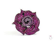 Ruby & Pink Sapphire Rose Ring, 18K White Gold & Black Rhodium 12.21 ct