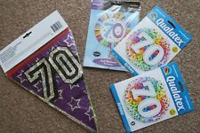 70th BIRTHDAY PARTY QUALITY FOIL 3 BALLONS AND HOLOGRAPHIC 8M BUNTING BOUNDLE