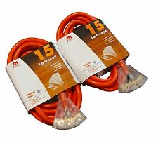 2-Pack 15 Ft Triple Tap 10 Gauge Extension Cord Lit Ends NEW 10/3 15 Foot Feet