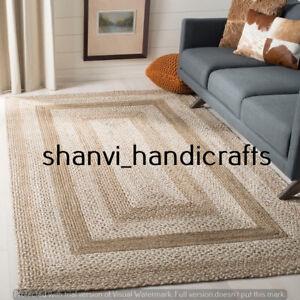 Bohemian Handmade Braided Rag Rug Handwoven Indian Jute 5X8 Feet Area Rug Carpet