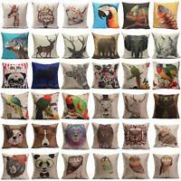 Animal Print Home Decor Linen Pillow Case Sofa Waist Throw Cushion Cover