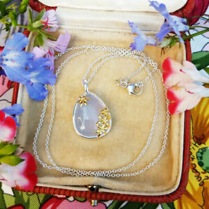Blue Chalcedony Oval Pendant Necklace in Sterling Silver
