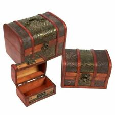 Juvale Wooden Treasure Chest With Flower Motif