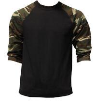 3/4 Sleeve Plain Baseball Raglan T-Shirt Tee Mens Jersey Black Green Camou XL