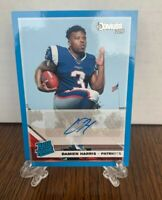 2019 PANINI DONRUSS DAMIEN HARRIS RC BLUE BORDER AUTO RATED RC  #309 Patriots