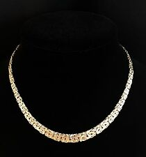 "14K Gold 16"" Bold Graduated Byzantine Necklace 11.6g NWT QVC J289251 $759 Retail"