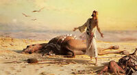 Hand painted Oil painting carl haag - shipwreck in the desert arab & dead camel