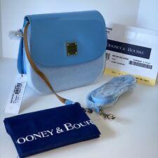 NWT DOONEY & BOURKE Saddle Crossbody Shoulder Bag Patent Leather Denim Blue $218