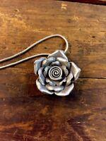 Flower Necklace Pendant 925 Sterling Silver Carnation 3d Figural Unique Artisan