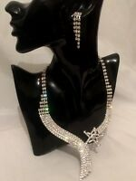 Statement Silver Crystal Diamante Rhinestone Drop Dangle Earrings Necklace set