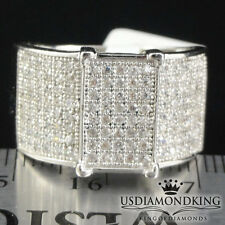 MENS WOMENS STERLING SILVER LAB DIAMOND WHITE GOLD FINISH ENGAGEMENT PINKY RING