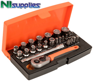 Bahco 25 Pc 1/4″ Drive Mini Metric Socket & Screwdriver Bit Set 4 - 13mm - SL25