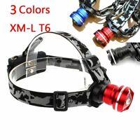 2000 Lumen Fisheye LED Headlamp XM-L T6 Bright Zoomable Hiking Camping Lantern