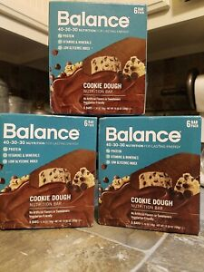 3 boxes- Balance Bar, Nutrition Bar, Cookie Dough, 18 Bars, 1.76 oz BB 5/04/21