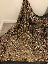 "BLACK STRETCH MESH W/GOLD  SEQUINS  EMBROIDERY FABRIC 50"" WIDE 1 YARD"