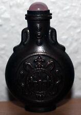 China Snuff Bottle Schnupftabak Flasche aus Bronze chinese 20. Jh Rosen Quarz