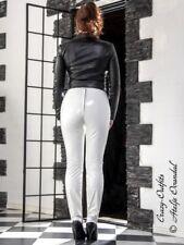Lackhose Lack Hose Knalleng Weiß Verschluß hinten Vinyl Maßanfertigung