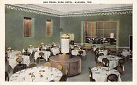 Linen Postcard Oak Room at Park Hotel in Madison, Wisconsin~110879