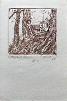 Blick auf Kloster Chorin Brandenburg Aquatinta Radierung signiert Blatt 8/30