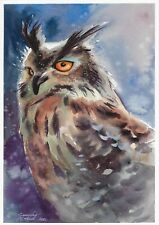 original drawing A4 421LM art by samovar watercolor owl Signed 2020
