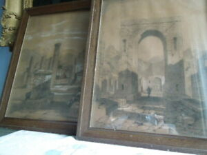 Pair Grand Tour Antique Drawings Charcoal Bodycolour Pompeii