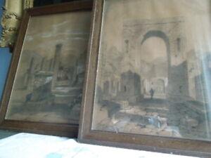 Pair Grand Tour Antique Drawings Charcoal Bodycolour Pompeii