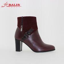 Balis - Elegant Burgundy Leather Office Heeled Boots [size 5 UK]