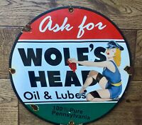 "Vintage Wolf's Head Oil Heavy Porcelain Sign 12"" Gas And Oil Sign"
