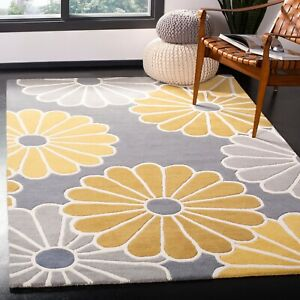 Gray Traditional Floral Oriental Area Rug Hand-tufted Classic Carpet 5x8
